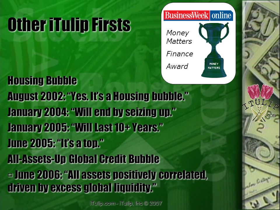 iTulip.com - iTulip, Inc © 2007 Other iTulip Firsts Housing Bubble August 2002: Yes.
