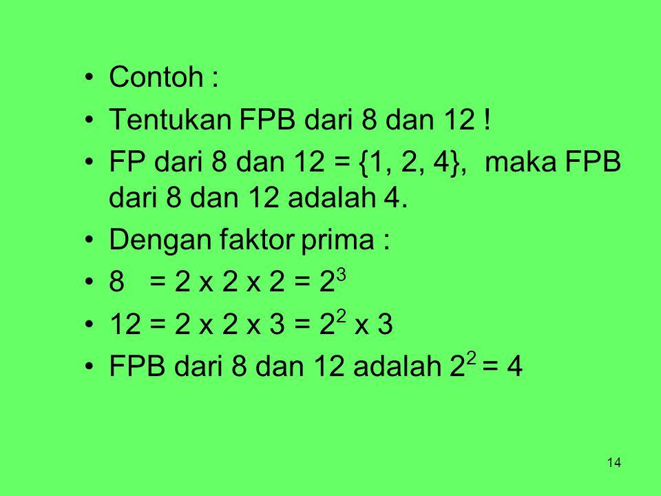 14 Contoh : Tentukan FPB dari 8 dan 12 .