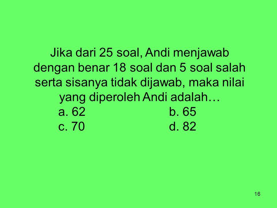 16 Jika dari 25 soal, Andi menjawab dengan benar 18 soal dan 5 soal salah serta sisanya tidak dijawab, maka nilai yang diperoleh Andi adalah… a.