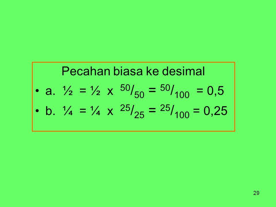 29 Pecahan biasa ke desimal a. ½ = ½ x 50 / 50 = 50 / 100 = 0,5 b.