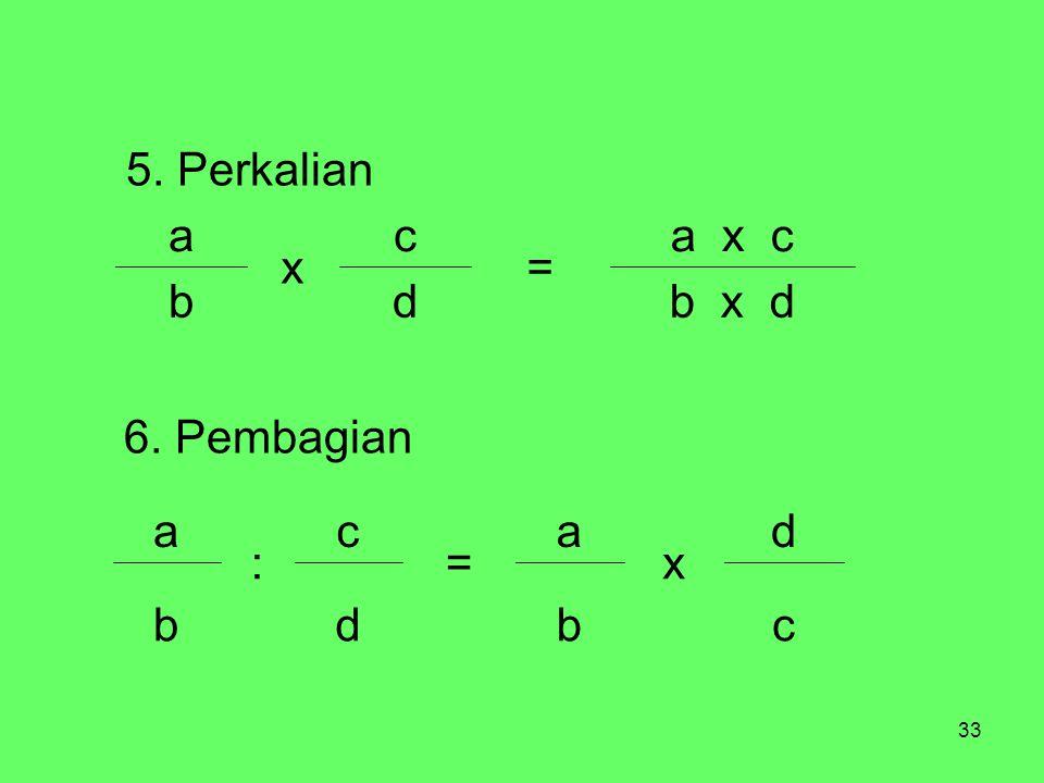 33 b x ddb a x c = c x a 5. Perkalian cbdb d x a = c : a 6. Pembagian