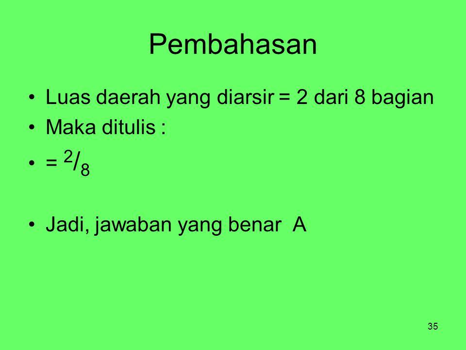 35 Pembahasan Luas daerah yang diarsir = 2 dari 8 bagian Maka ditulis : = 2 / 8 Jadi, jawaban yang benar A