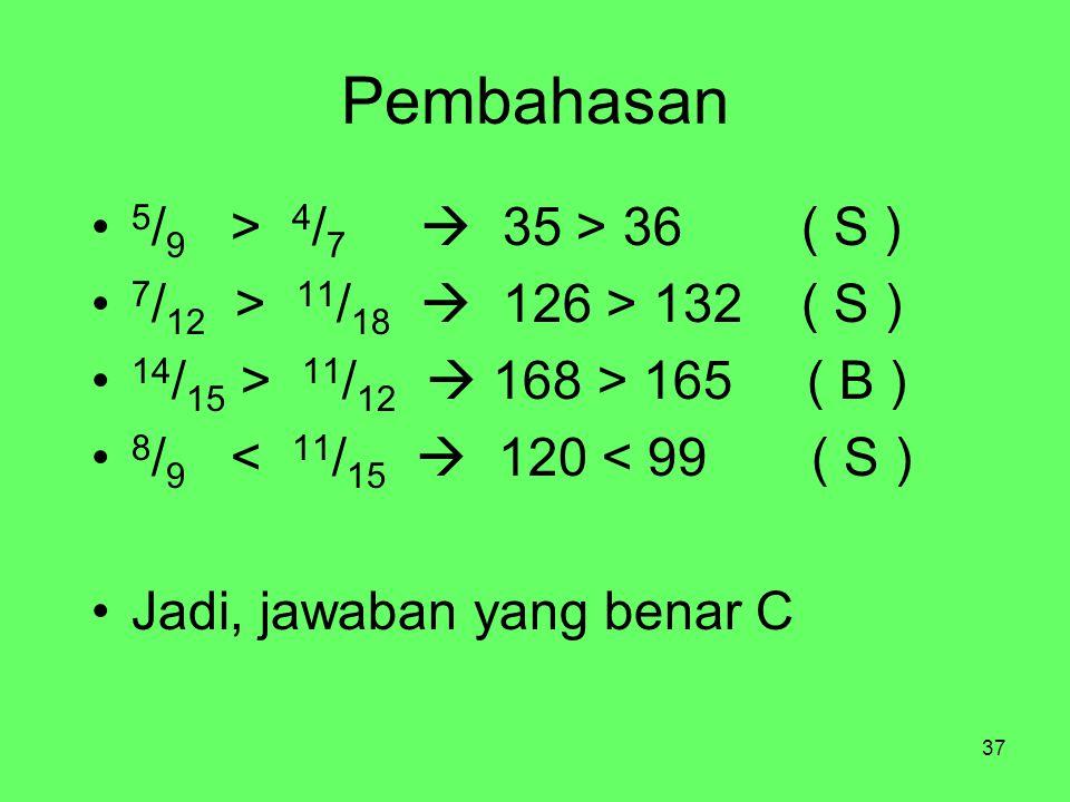 37 Pembahasan 5 / 9 > 4 / 7  35 > 36 ( S ) 7 / 12 > 11 / 18  126 > 132 ( S ) 14 / 15 > 11 / 12  168 > 165 ( B ) 8 / 9 < 11 / 15  120 < 99 ( S ) Jadi, jawaban yang benar C