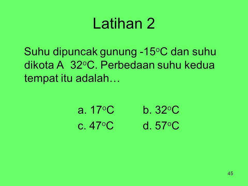 45 Latihan 2 Suhu dipuncak gunung -15 o C dan suhu dikota A 32 o C.