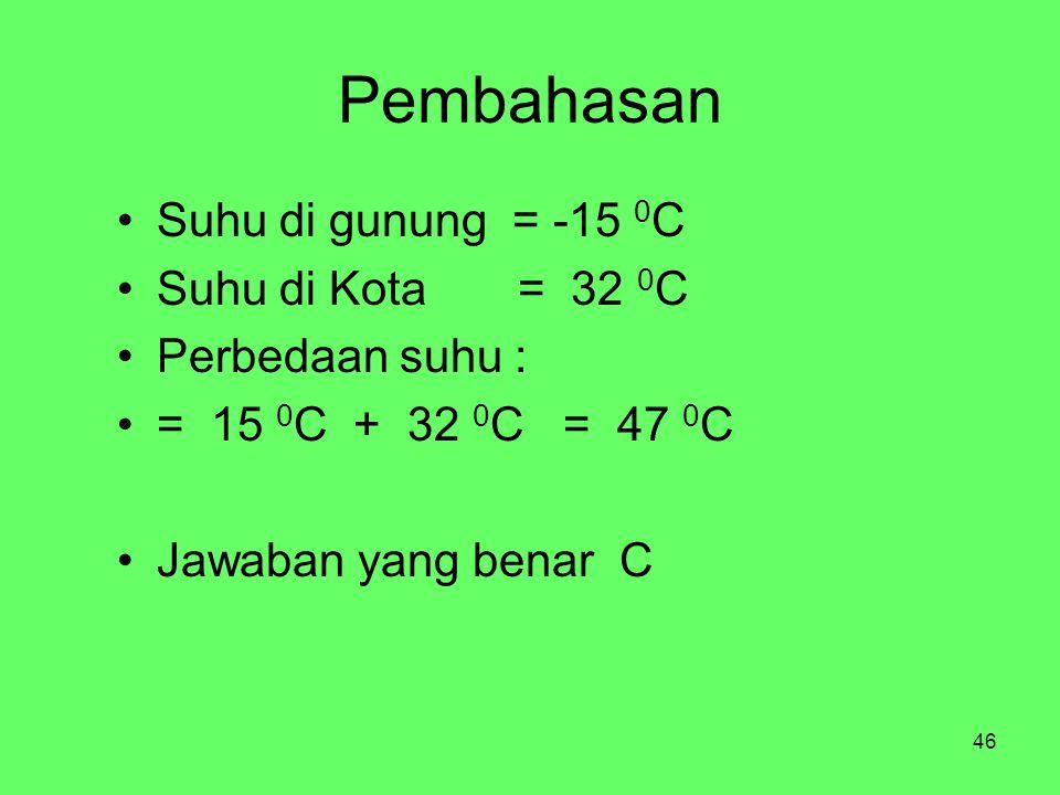 46 Pembahasan Suhu di gunung = -15 0 C Suhu di Kota = 32 0 C Perbedaan suhu : = 15 0 C + 32 0 C = 47 0 C Jawaban yang benar C