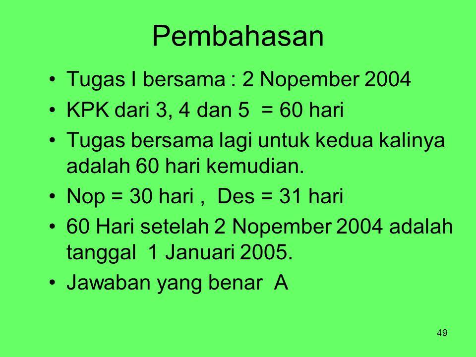 49 Pembahasan Tugas I bersama : 2 Nopember 2004 KPK dari 3, 4 dan 5 = 60 hari Tugas bersama lagi untuk kedua kalinya adalah 60 hari kemudian.