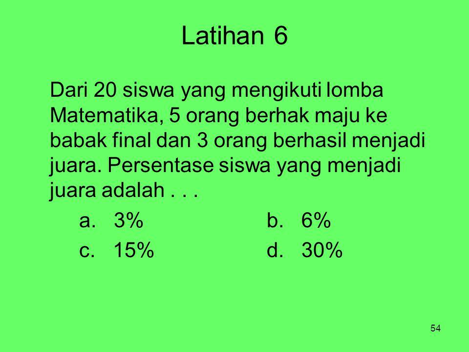 54 Latihan 6 Dari 20 siswa yang mengikuti lomba Matematika, 5 orang berhak maju ke babak final dan 3 orang berhasil menjadi juara.