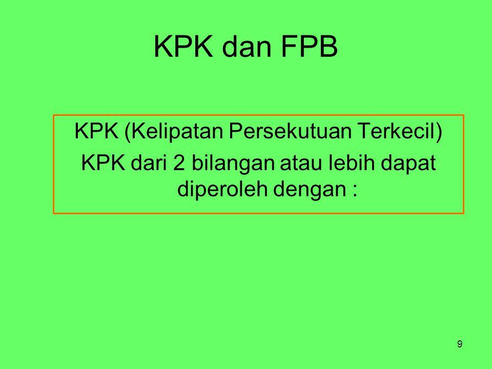 9 KPK dan FPB KPK (Kelipatan Persekutuan Terkecil) KPK dari 2 bilangan atau lebih dapat diperoleh dengan :