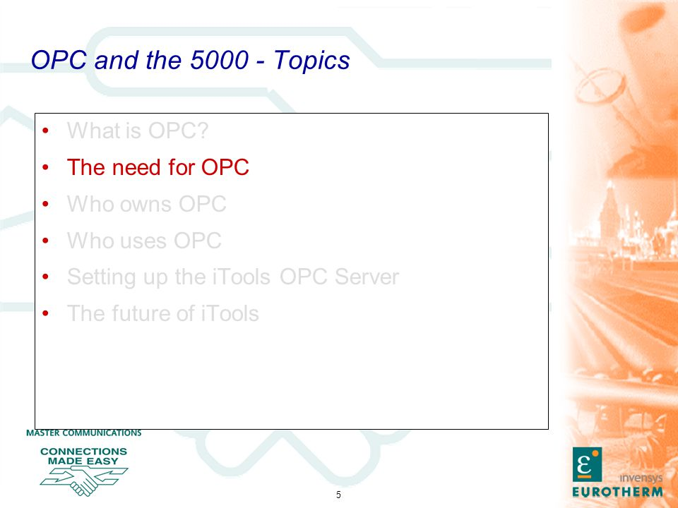 26 OPC and the 5000 - The future of iTools Further performance gains can be achieved by using the Save As SCADA… option under the File menu.
