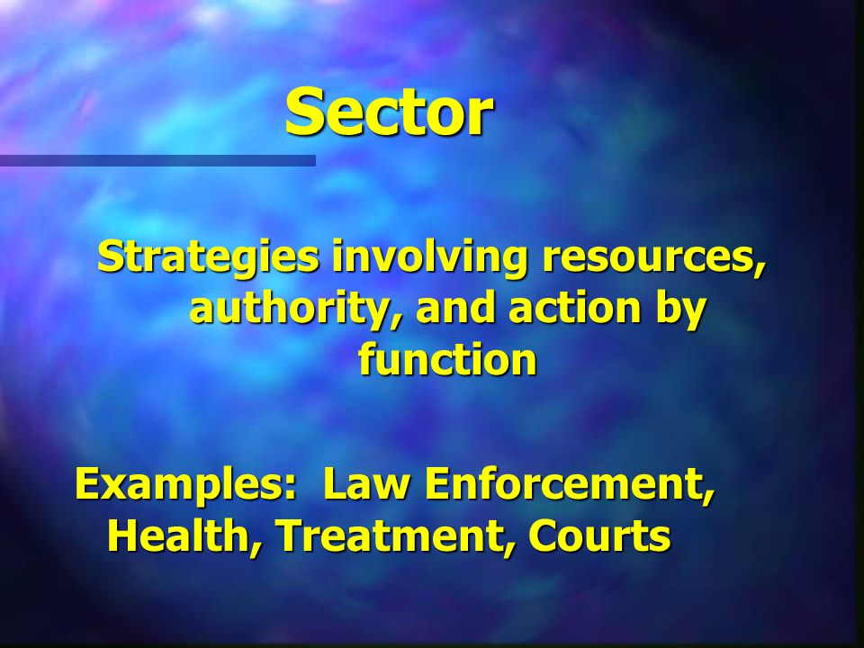 Sector Strategies involving resources, authority, and action by function Examples: Law Enforcement, Health, Treatment, Courts