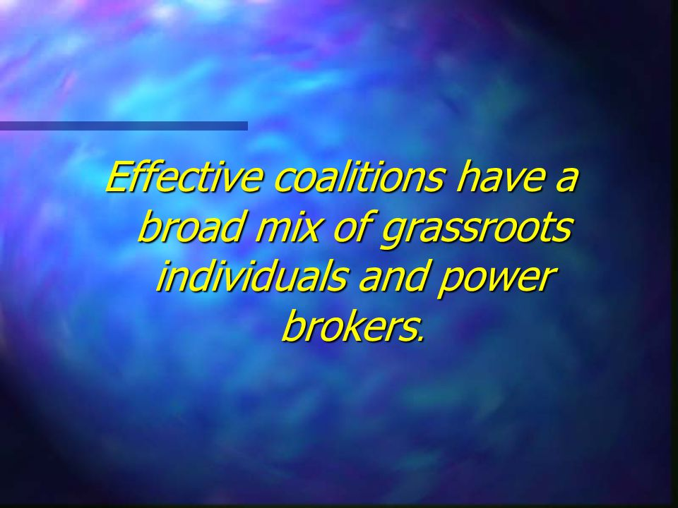Effective coalitions have a broad mix of grassroots individuals and power brokers.