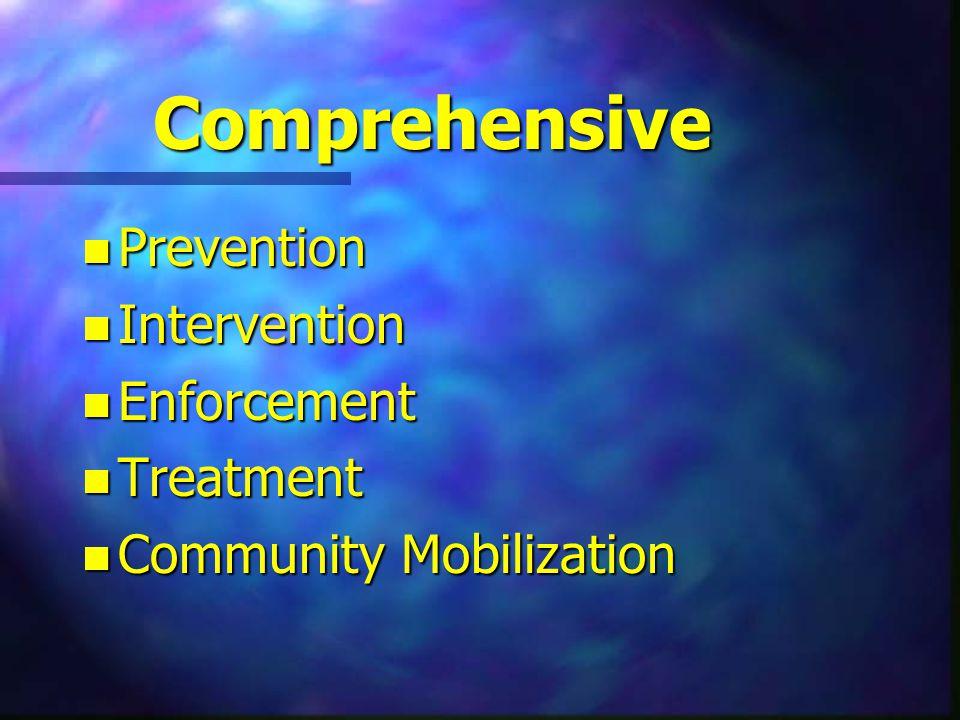 Comprehensive n Prevention n Intervention n Enforcement n Treatment n Community Mobilization