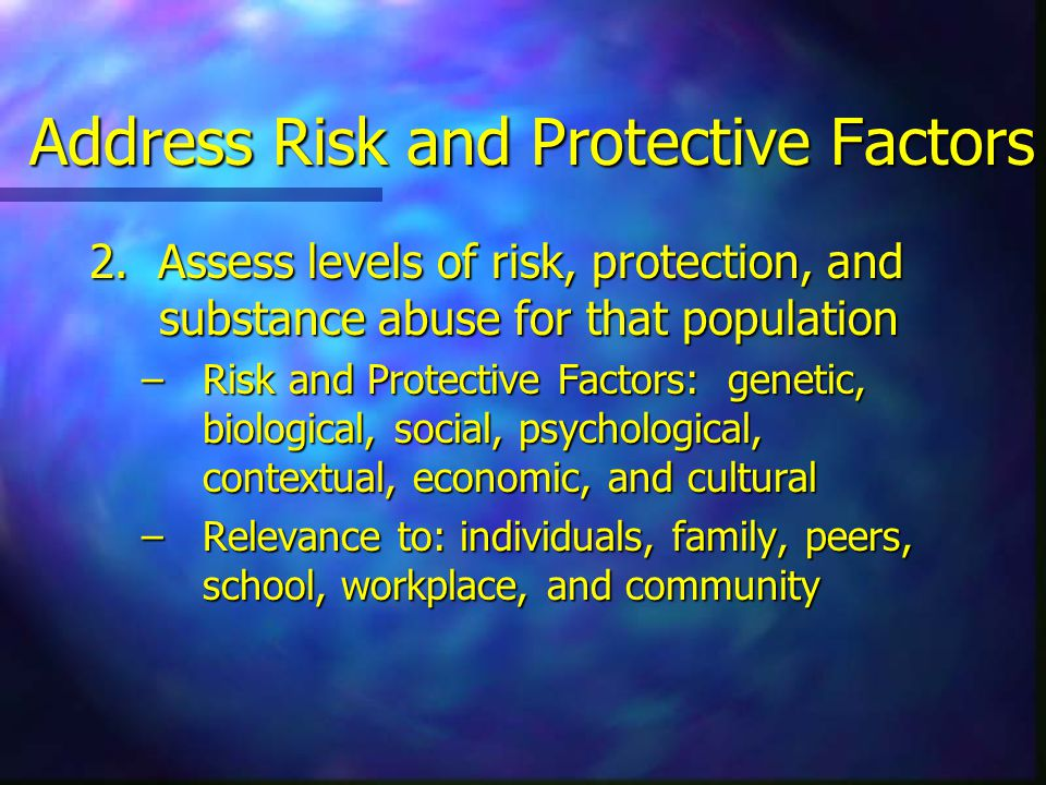 Address Risk and Protective Factors 2.