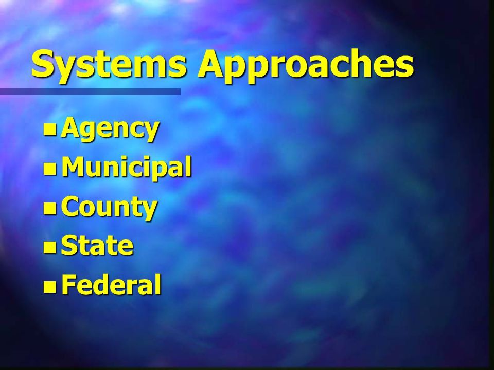 Systems Approaches n Agency n Municipal n County n State n Federal