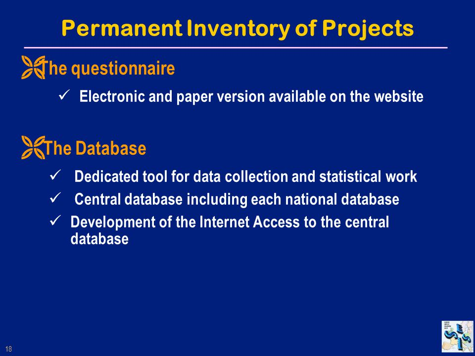 18 Permanent Inventory of Projects Ë The questionnaire Electronic and paper version available on the website Ë The Database Dedicated tool for data collection and statistical work Central database including each national database Development of the Internet Access to the central database