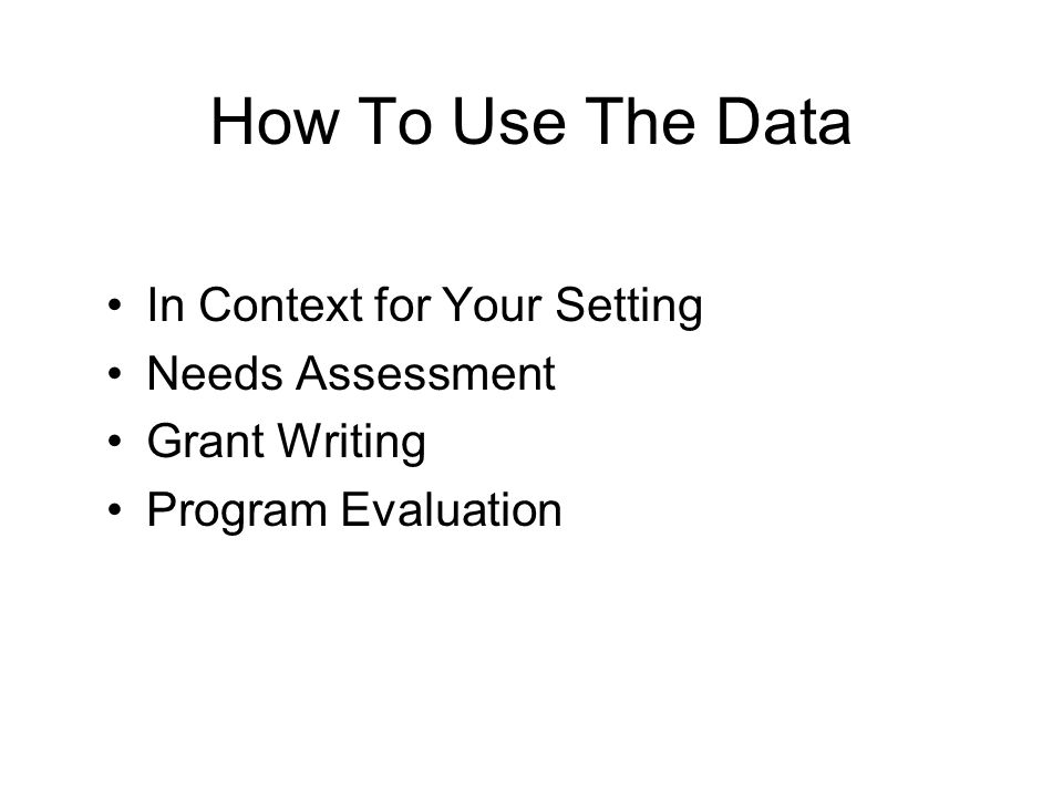 How To Use The Data In Context for Your Setting Needs Assessment Grant Writing Program Evaluation