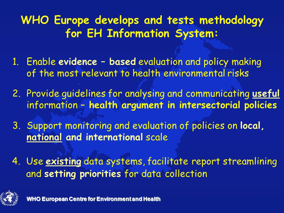 WHO European Centre for Environment and Health Environment and Health Information System in the policy cycle Formulation Implementation Performance evaluation & monitoring EH Information System POLICY