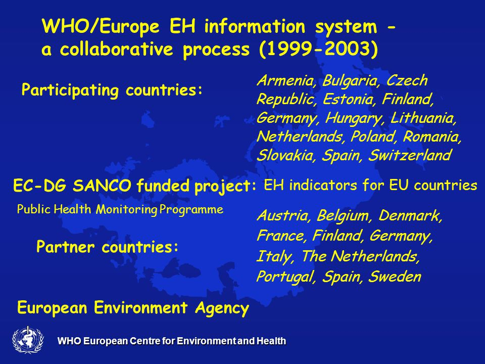 WHO European Centre for Environment and Health WHO Europe develops and tests methodology for EH Information System: 2.Provide guidelines for analysing and communicating useful information – health argument in intersectorial policies 4.Use existing data systems, facilitate report streamlining and setting priorities for data collection 1.Enable evidence – based evaluation and policy making of the most relevant to health environmental risks 3.Support monitoring and evaluation of policies on local, national and international scale
