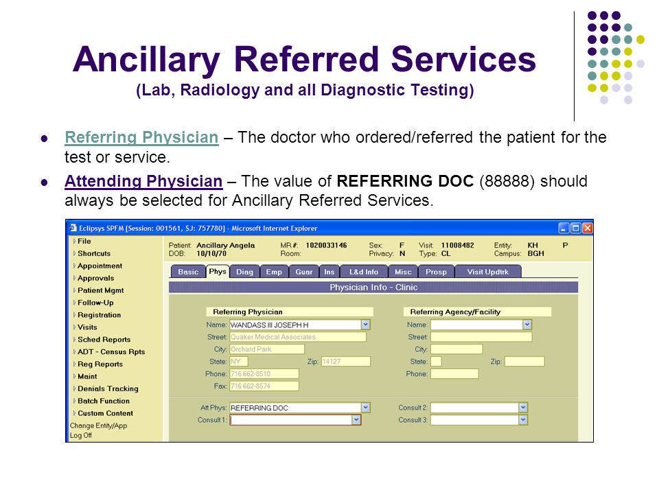 Ancillary Referred Services (Lab, Radiology and all Diagnostic Testing) Referring Physician – The doctor who ordered/referred the patient for the test or service.