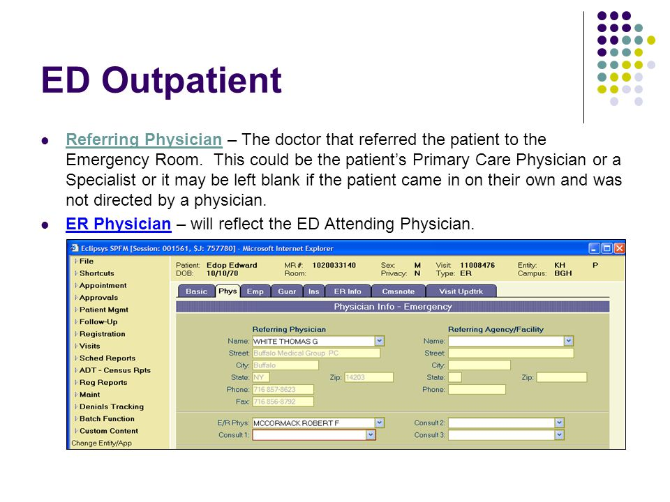 ED Outpatient Referring Physician – The doctor that referred the patient to the Emergency Room. This could be the patient's Primary Care Physician or