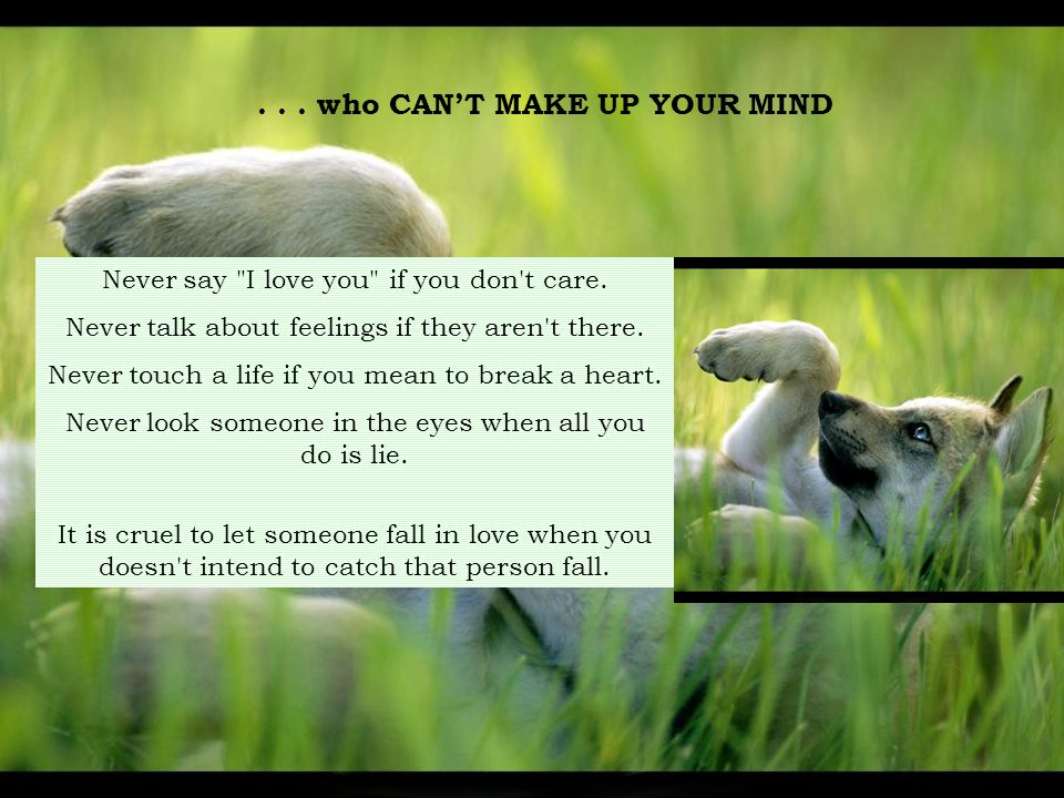...who CAN'T MAKE UP YOUR MIND Never say I love you if you don t care.
