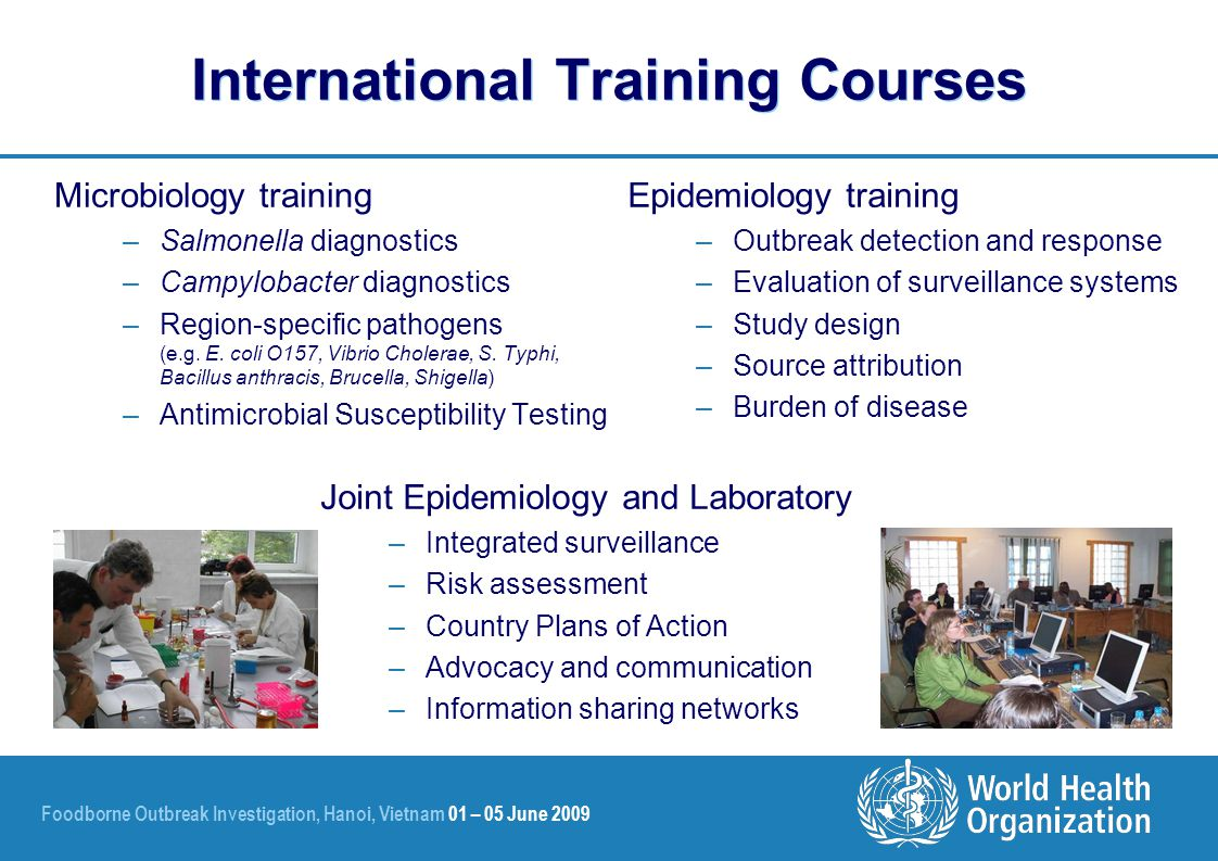 Foodborne Outbreak Investigation, Hanoi, Vietnam 01 – 05 June 2009 International Training Courses Microbiology training –Salmonella diagnostics –Campy