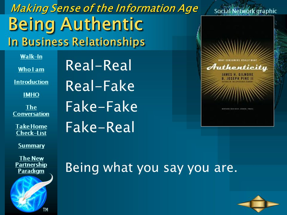 Walk-In Who I am Introduction IMHO The Conversation Take Home Check-List Summary The New Partnership Paradigm Making Sense of the Information Age Social Network graphic Being Authentic In Business Relationships Real-Real Real-Fake Fake-Fake Fake-Real Being what you say you are.