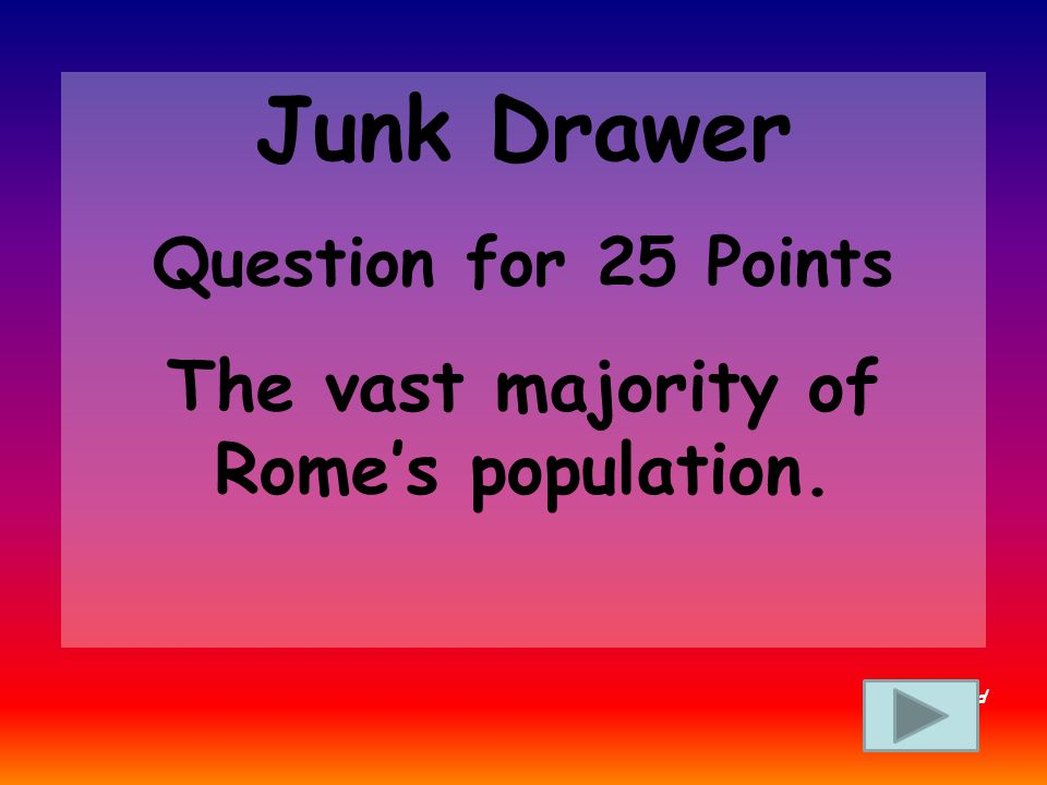 Junk Drawer Answer for 20 Points What is Rome Back to Board