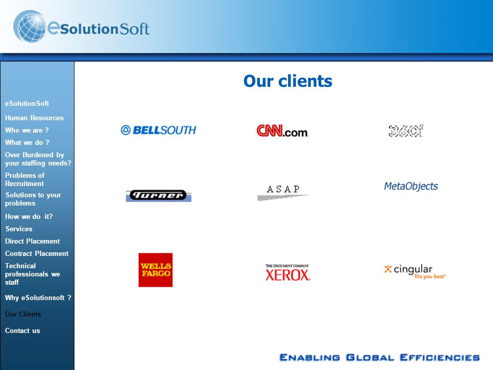 Our clients eSolutionSoft Human Resources Who we are .