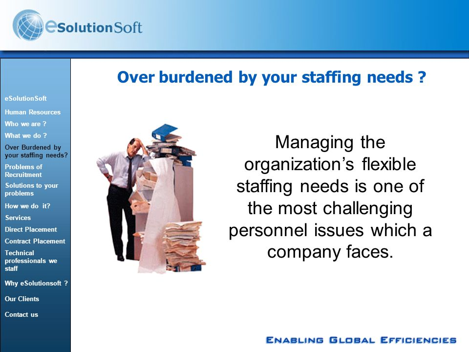 Over burdened by your staffing needs .