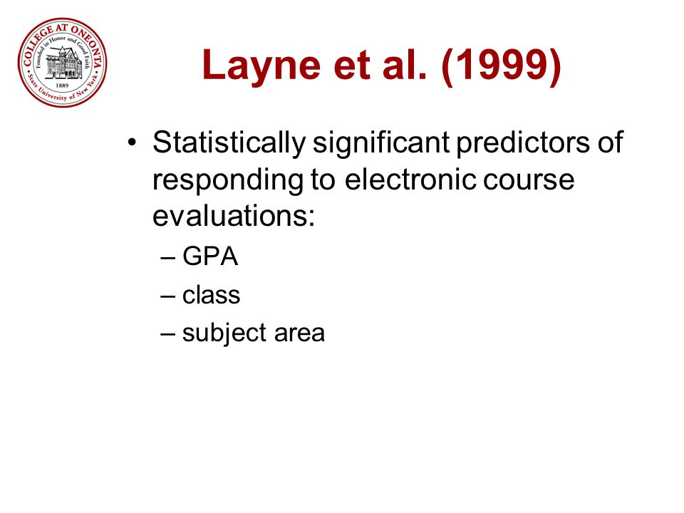 Layne et al. (1999) Statistically significant predictors of responding to electronic course evaluations: –GPA –class –subject area