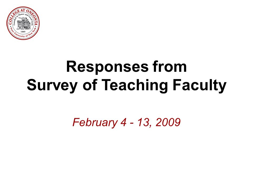 Responses from Survey of Teaching Faculty February 4 - 13, 2009