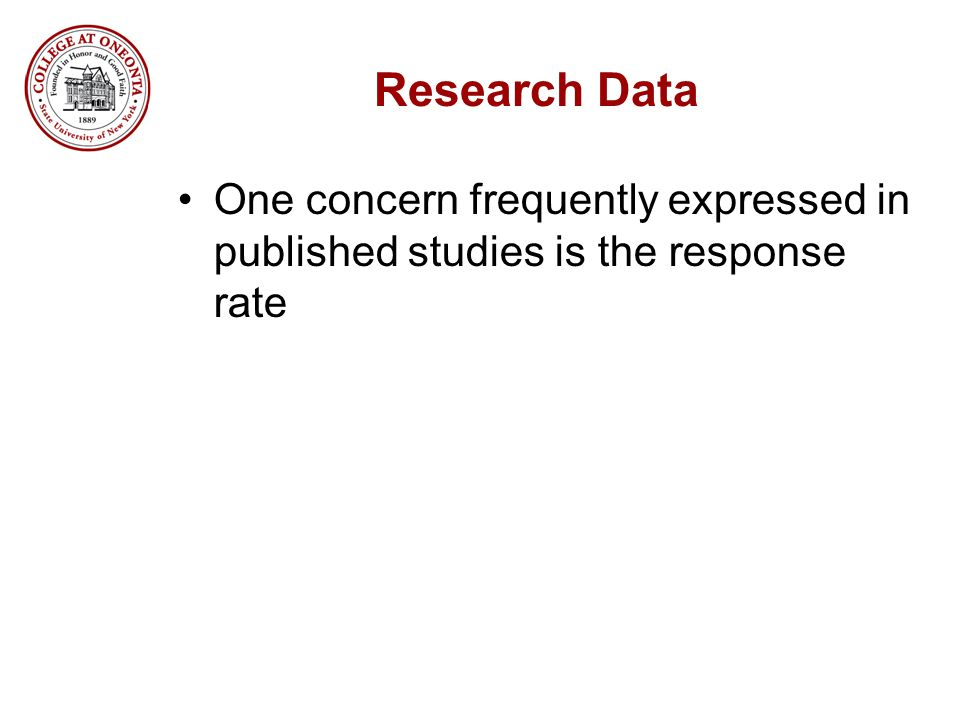 Research Data One concern frequently expressed in published studies is the response rate