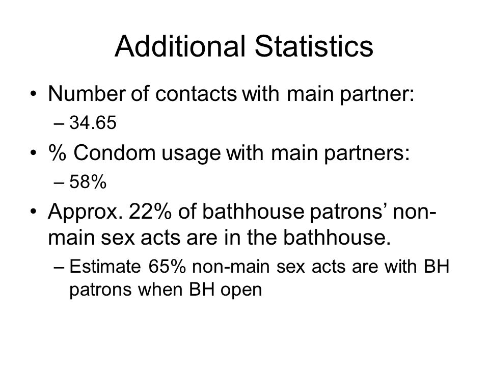 Additional Statistics Number of contacts with main partner: –34.65 % Condom usage with main partners: –58% Approx.