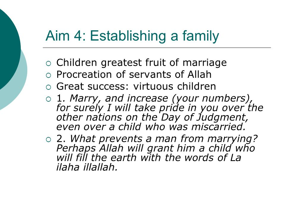 Aim 4: Establishing a family  Children greatest fruit of marriage  Procreation of servants of Allah  Great success: virtuous children  1. Marry, a