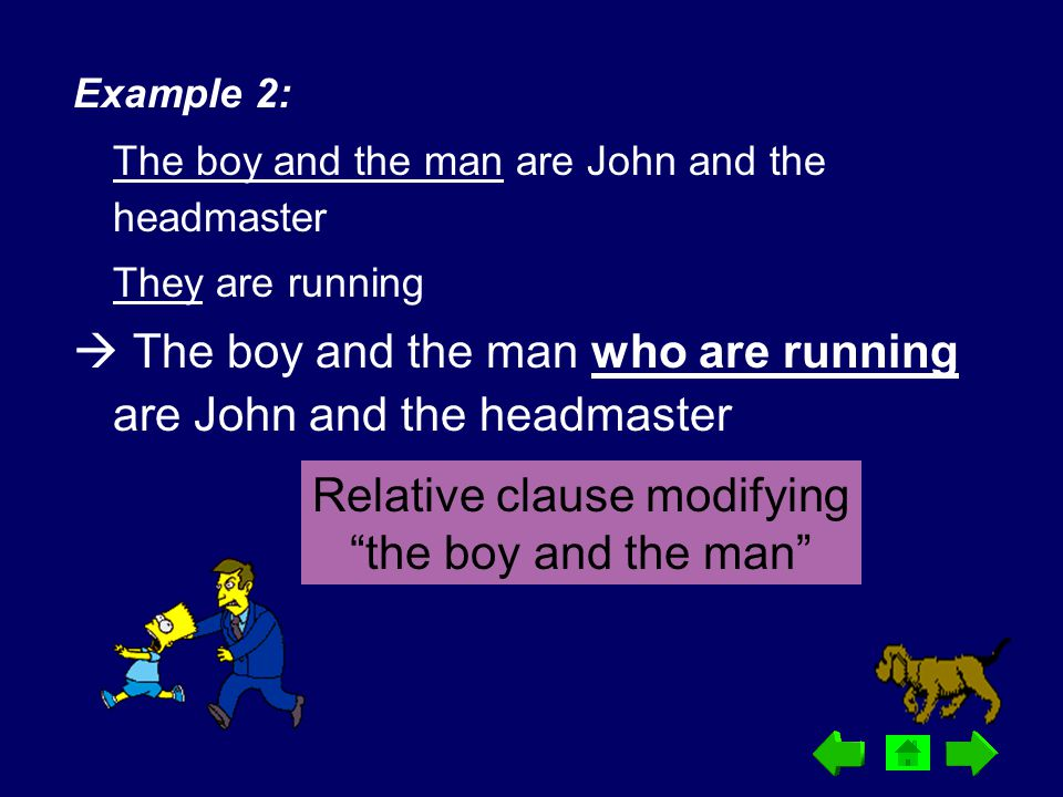 Example 2: The boy and the man are John and the headmaster They are running  The boy and the man who are running are John and the headmaster Relative
