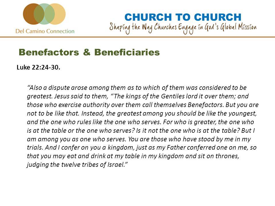 Benefactors & Beneficiaries Luke 22:24-30.