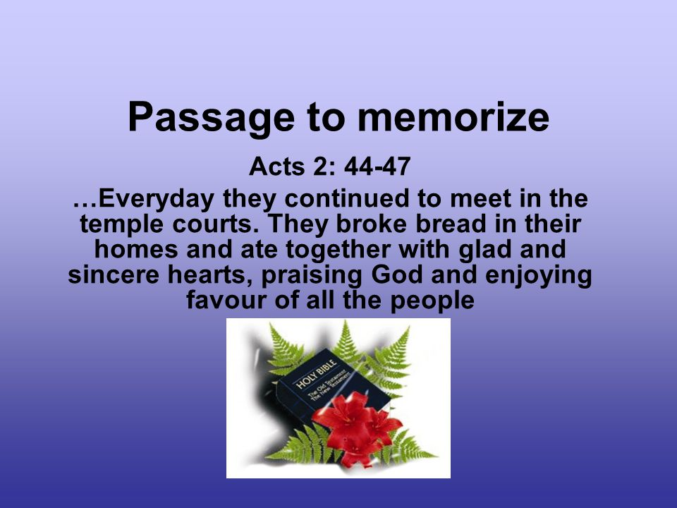 Passage to memorize Acts 2: 44-47 …Everyday they continued to meet in the temple courts.