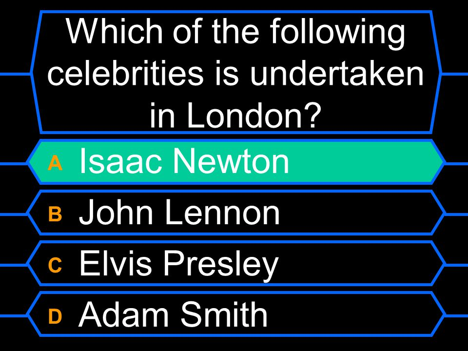 Which of the following celebrities is undertaken in London.