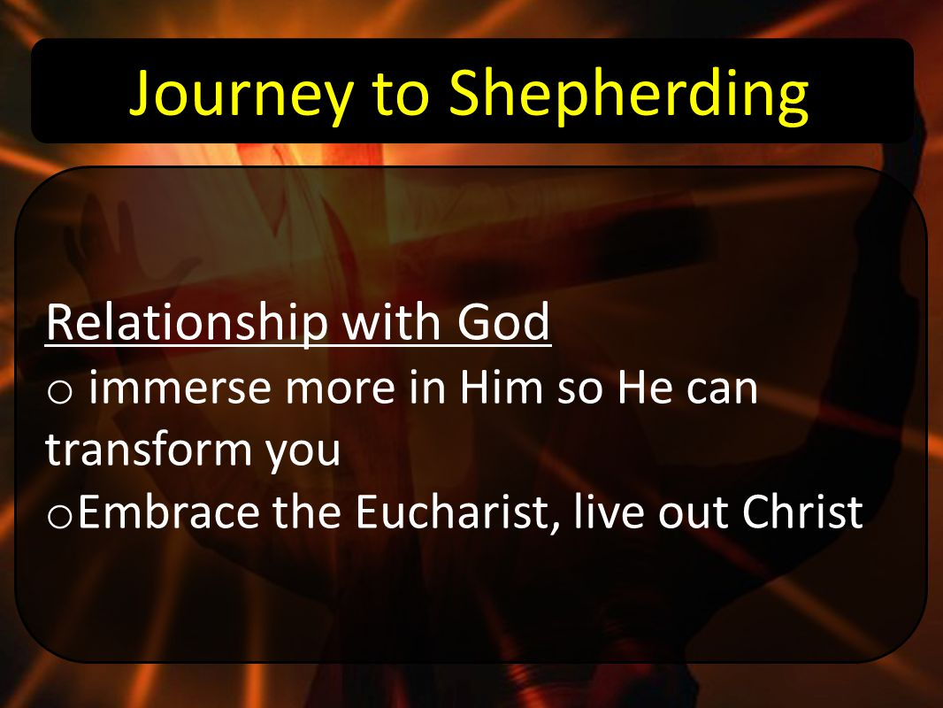 Journey to Shepherding Relationship with God o immerse more in Him so He can transform you o Embrace the Eucharist, live out Christ