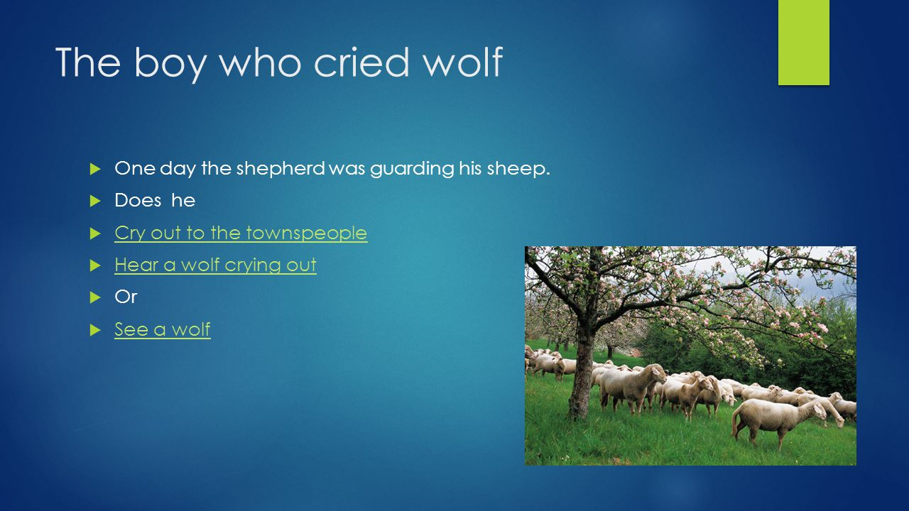 The boy who cried wolf  One day the shepherd was guarding his sheep.