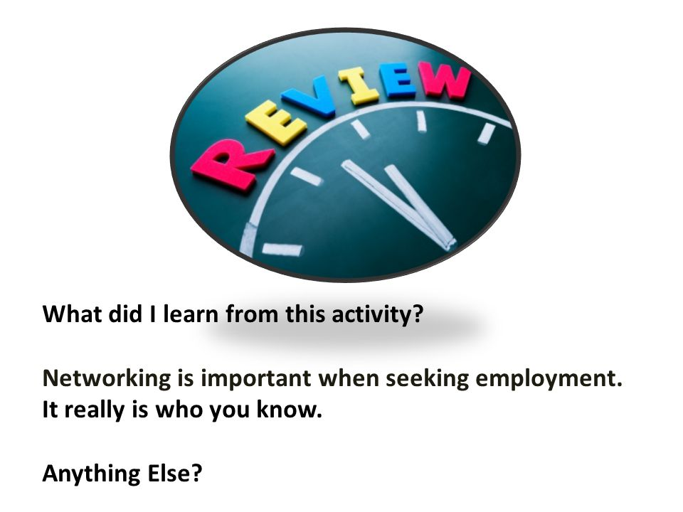 What did I learn from this activity. Networking is important when seeking employment.
