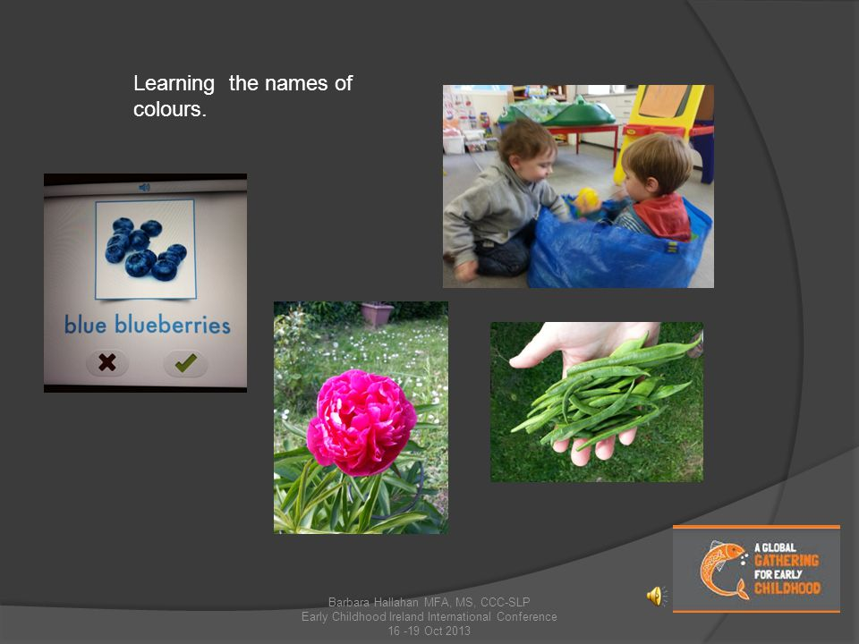Learning the names of colours.