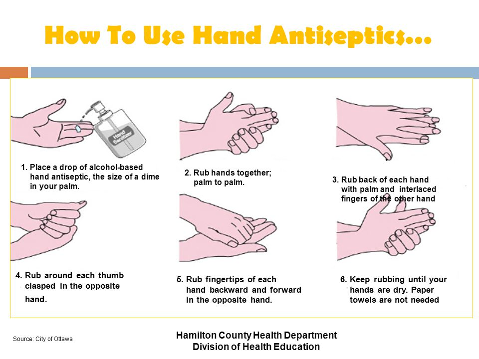1. Place a drop of alcohol-based hand antiseptic, the size of a dime in your palm. 2. Rub hands together; palm to palm. 3. Rub back of each hand with