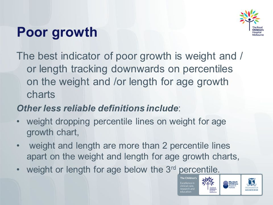 Poor growth The best indicator of poor growth is weight and / or length tracking downwards on percentiles on the weight and /or length for age growth charts Other less reliable definitions include: weight dropping percentile lines on weight for age growth chart, weight and length are more than 2 percentile lines apart on the weight and length for age growth charts, weight or length for age below the 3 rd percentile.