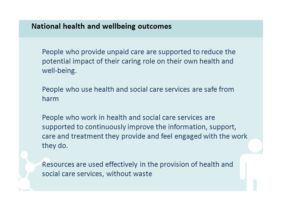 People who provide unpaid care are supported to reduce the potential impact of their caring role on their own health and well-being.