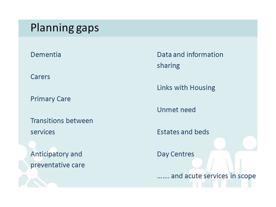 Planning gaps Dementia Carers Primary Care Transitions between services Anticipatory and preventative care Data and information sharing Links with Housing Unmet need Estates and beds Day Centres …….