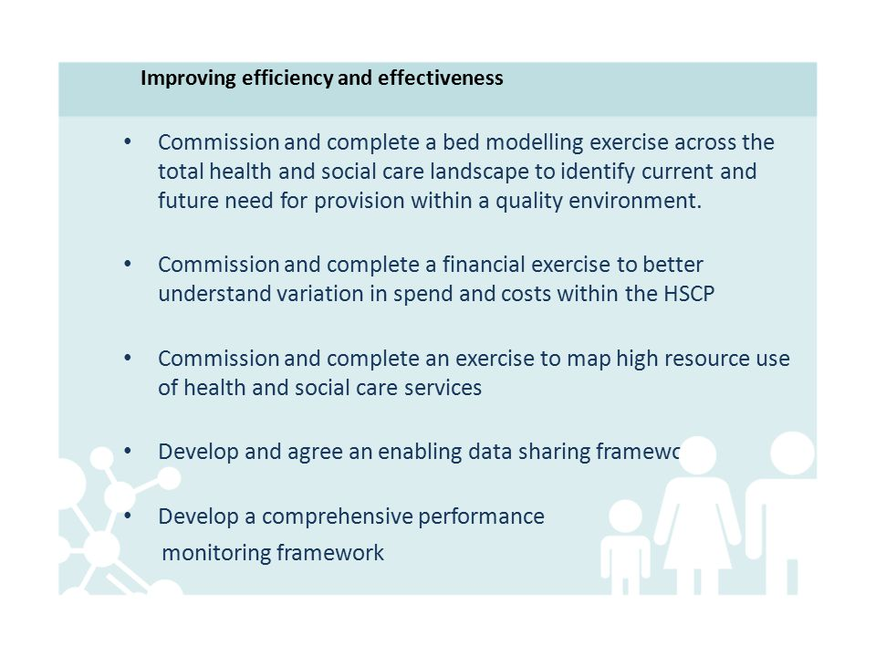 Improving efficiency and effectiveness Commission and complete a bed modelling exercise across the total health and social care landscape to identify current and future need for provision within a quality environment.
