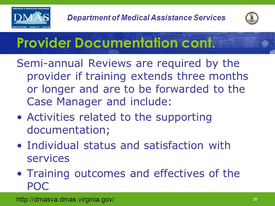 19 Department of Medical Assistance Services Provider Documentation cont.