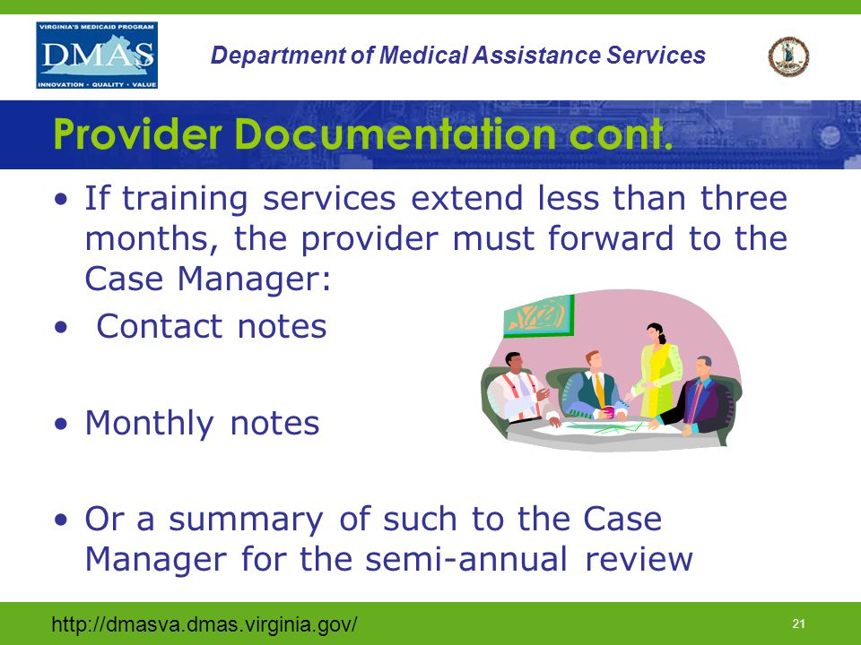 20 Department of Medical Assistance Services Provider Documentation cont.